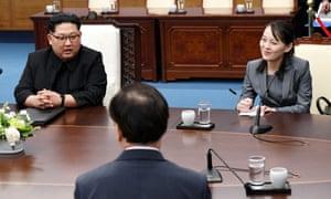 North Korean Leader Kim Jong Un sits next to his sister Kim Yo Jong during the Inter-Korean Summit at the Peace House