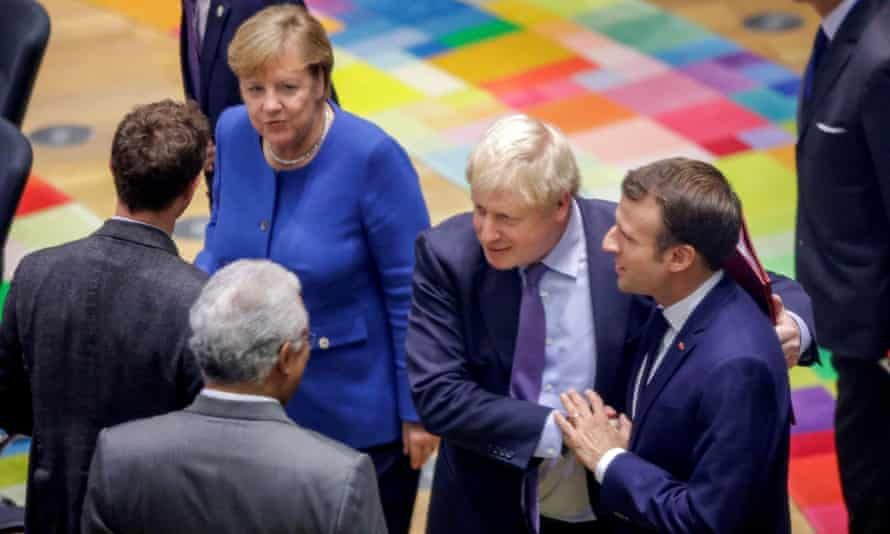 Angela Merkel, Boris Johnson and Emmanuel Macron at the EU leaders summit, 17 October 2019.