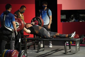 Malaysia's Yee Khie Jong competes during the men's -107kg powerlifting final – he went on to win silver.