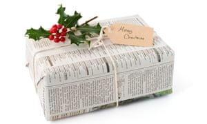 Wrapping presents in newspaper avoids much Christmas waste.