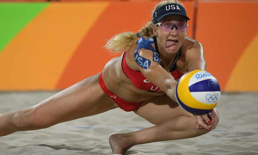 Kerri Walsh Jennings in action during the Rio Olympics