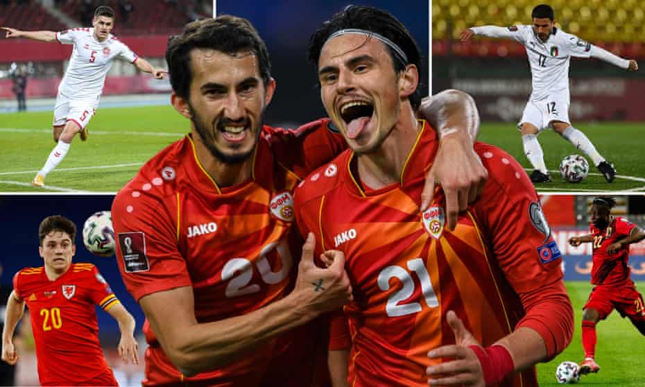 Clockwise from top left: Denmark's Joakim Maehle, North Macedonia's Eljif Elmas (right) celebrates scoring with Stefan Spirovski, Italy's Stefano Sensi, Belgium's Jérémy Doku, the Wales goalscorer Daniel James.