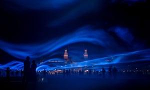 Artist Daan Roosegaarde's Waterlicht 'floods' Museum Square in Amsterdam with light, Netherlands.