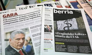The Basque newspapers Gara and Berria carry news of Eta's apology on Friday morning.