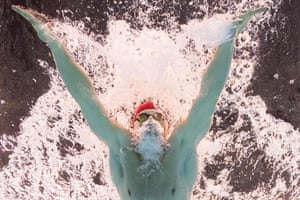 Britain's Adam Peaty on his way to winning the gold medal in the men's 100m breaststroke final in Rio de Janeiro, Brazil