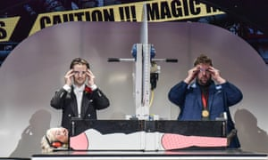 Cutting edge … Henry Shields, Henry Lewis and Roxy Faridany in Magic Goes Wrong.