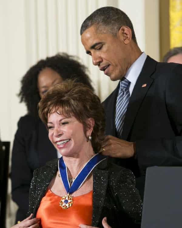 President Barack Obama awards Allende the Presidential Medal of Honor 2014.