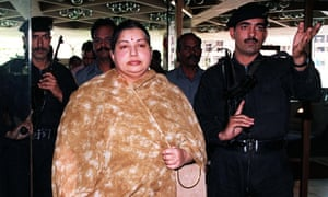 Jayalalithaa Jayaram in 1999, surrounded by soldiers