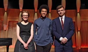 BBC Young Musician 2016 finalists (l-r): Jess Gillam, Sheku Kanneh-Mason and Ben Goldscheider: 'precociously talented but not precious'.