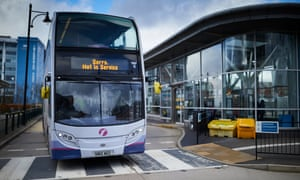 First Manchester bus with 'sorry out of service sign' at Oldham bus
