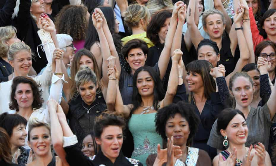 A protest on the red carpet last year against the lack of female directors in contention at Cannes