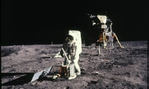 Apollo 11 astronaut Edwin 'Buzz' Aldrin deploys a scientific experiments package on the moon on 20 July 1969.