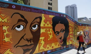 A mural outside the future Mexican Museum, set to open in 2019. The building will be home to the largest Mexican and Latino art collection in the country.