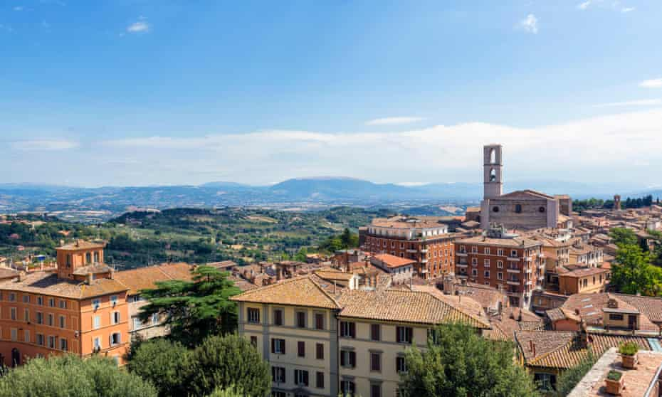 View over the city and countryside from the Giardini Carducci, Perugia, Umbria, Italy.