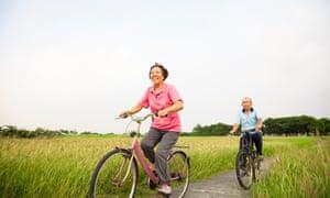 Older people on bikes