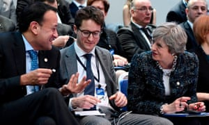 Leo Varadkar and Theresa May chat before a session at the European social summit in Gothenburg.