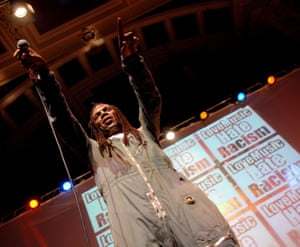 Performing at Love Music Hate Racism in 2008 in Hull