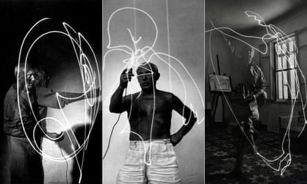 Vallauris, France, 1949: using multiple exposure, photographer Gjon Mili captures Picasso making a light drawing in the air with a flashlight