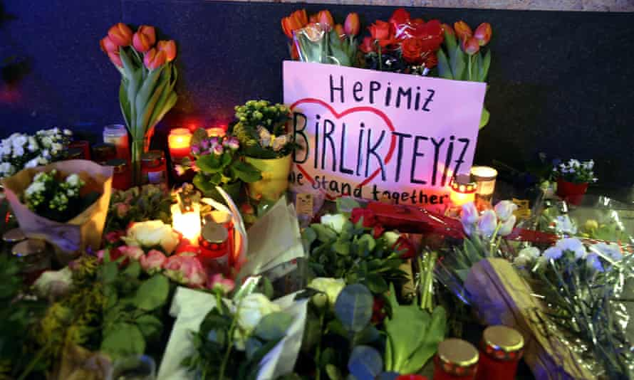 Flowers and candles were placed at the scene in Hanau