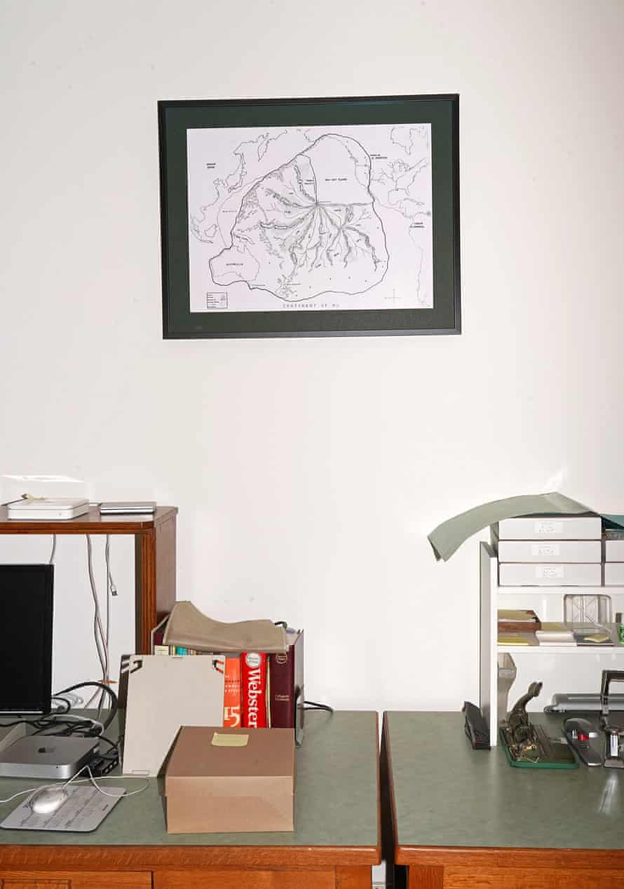 A framed map of the lost continent of Mu inside the headquarters of the Lemurian Fellowship in Ramona, California.