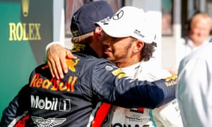 Max Verstappen and Lewis Hamilton congratulate each other after a gripping race in Hungary.