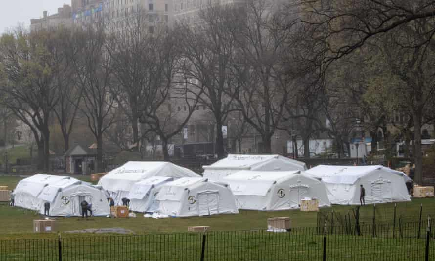 A Samaritan's Purse crew works on building the field hospital in Central Park, across from Mount Sinai hospital.