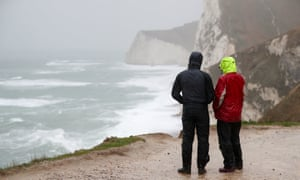 Miserable conditions close to Durdle Door in Dorset.