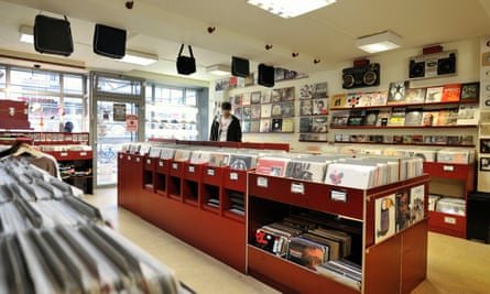 Racks of vinyl in the centre of Groove City Records, Hamburg, Germany