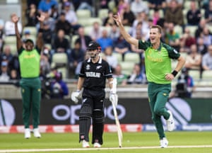 Chris Morris of South Africa celebrates after taking the wicket of Ross Taylor of New Zealand.
