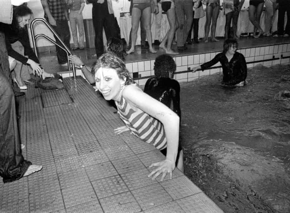 Taking a dip in Putney baths at a party thrown by the Boomtown Rats in 1979.