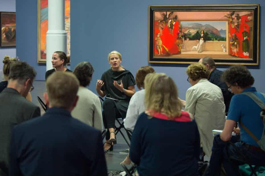 Eye level … Hilke Wagner opens an exhibition of East German art at the Albertinum.