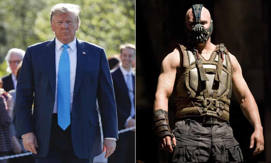 Donald Trump and Tom Hardy as Bane in The Dark Knight Rises.