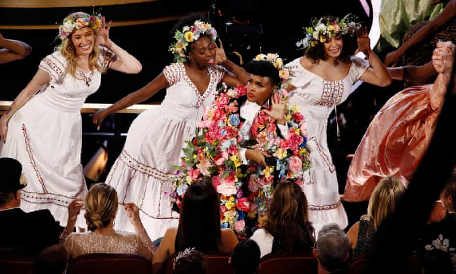 Janelle Monáe, dressed in tribute to the film Midsommar, performs the opening number at the 92nd Academy Awards.