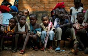 Children gather outside the St Jean des Cascades church in Bangui, Central African Republic