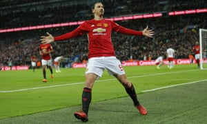 Zlatan Ibrahimovic celebrates scoring his second and Manchester United's third.