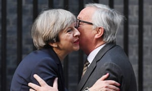 Jean-Claude Juncker being greeted by Theresa May at Downing Street