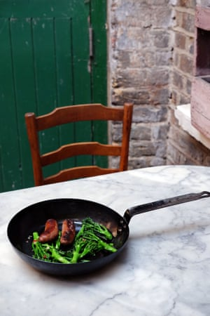 A version of the Neapolitan dish salsiccia e friarelli – sausages and greens.