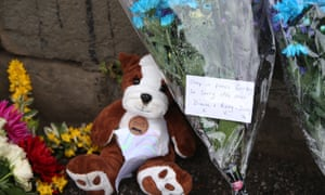 Tributes near the construction site in Worsbrough, Barnsley, where Conley Thompson's body was found.