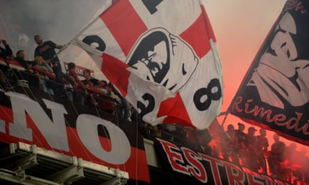 Fans at the San Siro for the Milan derby, October 2012.