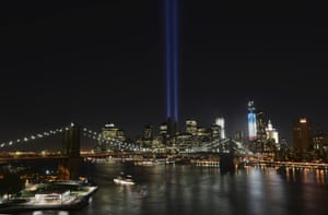 The Tunnel to Towers Foundation announced on Friday, 14 August, 2020, that it is working on plans to beam twin columns of light into the Manhattan sky, like here on 11 September, 2011, during its alternative 9/11 ceremony in 2020.