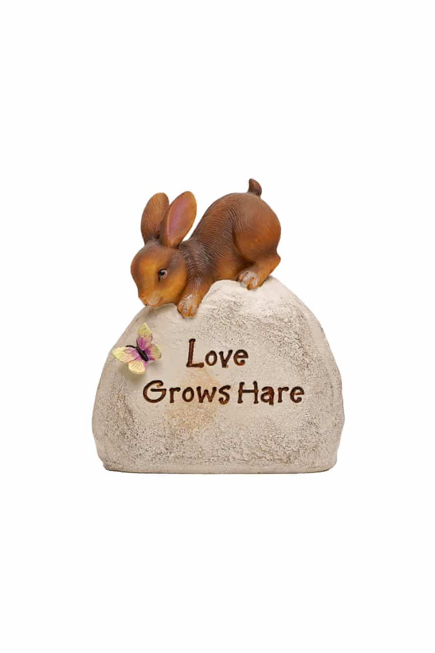 bunny on the rock that says 'love grows hare'