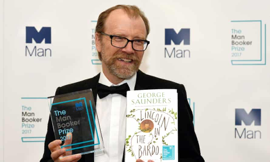 The American author George Saunders with his  Man Booker prize with Lincoln in the Bardo.