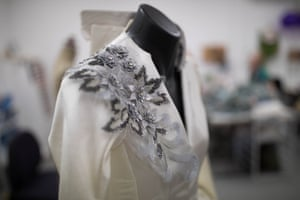 Detail of a jacket worn by Madame de Tourvel and designed by Tracy Grant Lord