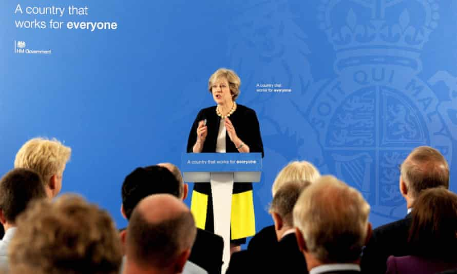 Theresa May answers questions after her grammar school announcement at the British Academy in London on Friday.