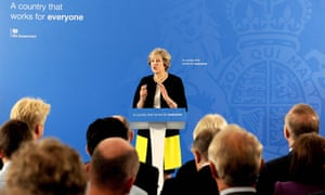 Theresa May after her speech at the British Academy in London in which she set out plans for more selection in schools.