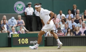 A cheeky shot between the legs from Roger Federer.