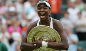 A jubilant Venus Williams celebrates with the Wimbledon trophy in 2005