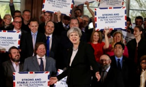 Making airmail envelopes great again: Theresa May in Bolton on Wednesday.