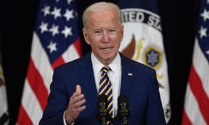 US President Joe Biden speaks to staff of the US State Department during his first visit in Washington, DC, February 4, 2021.