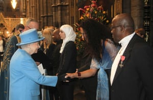 Dr Selina Tusitala Marsh reads Unity from the Secrarium Steps during the Commonwealth Day Service at Westminster Abbey in March 2016